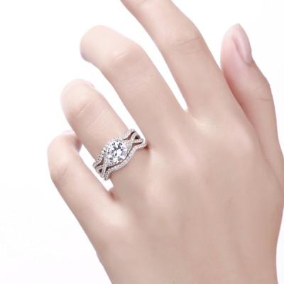 Weißemer Saphir Rundschnitt 925 Sterling Silber 3-steine Ringe Set