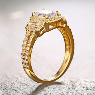 SmaragdSchliff Weißemer Saphir Gelbgold 925 Sterling Silber 3-Zirkonia Verlobungsringe