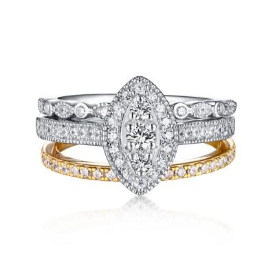 Runder Schliff 925 Sterling Silber & Gelbgold Weißemer Saphir 3-steine Ringe