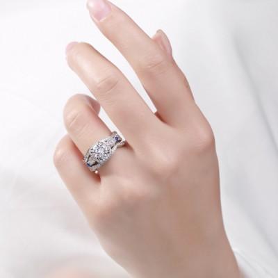 Rundschnitt S925 Sterling Silber Weißem Saphir 3-steine Halo Ringe