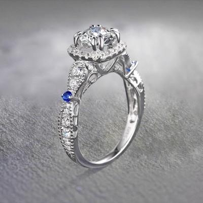 Rundschnitt Weißem und Blau Saphir Sterling Silber Halo Verlobungsringe