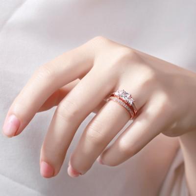 Princess Schliff RoséGelbgold S925 Sterling Silber Weißemer Saphir 3-Zirkonia Ringe