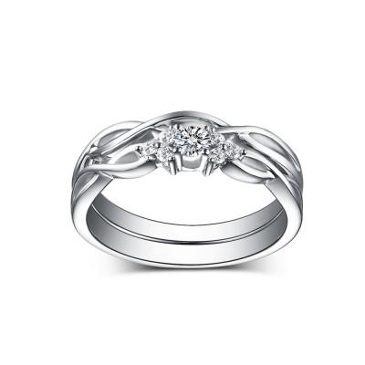 Runder Weißemer Saphir 925 Sterling Silber Hochzeitssets