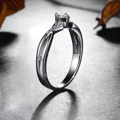 Princess Schliff Weißem Saphir Sterling Silber Verlobungsringe