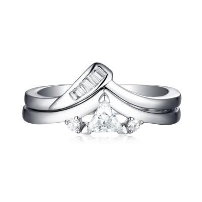 Trillion Schliff 925 Sterling Silber Weißem Saphir 3-Zirkonia Ringe