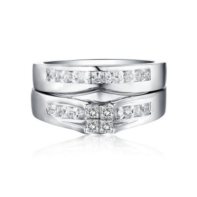 Classic Princess Schliff 925 Sterling Silber Weißemer Saphir Ringe