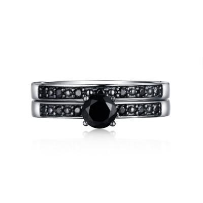 Art Deco Rundschnitt aus Schwarzem Saphir 925 Sterling Silber Ringe