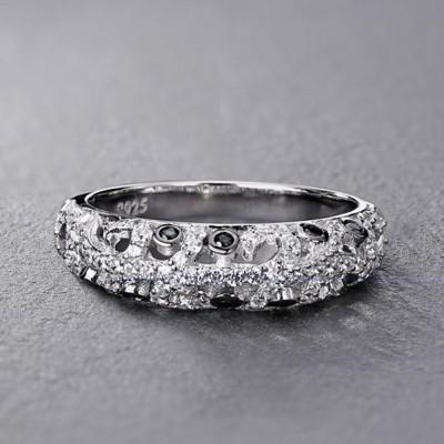Runder Schliff aus Weißemem und Schwarzem Saphir Sterling Silber Memoire Ringe