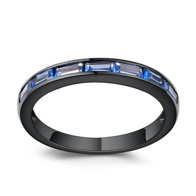 Smaragd Schliff Blau Saphir Schwarz Sterling Silber Memoire Ringe