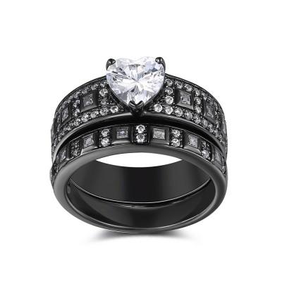 Herz geSchliffener Weißemer Saphir Sterling Silber Braut-sets