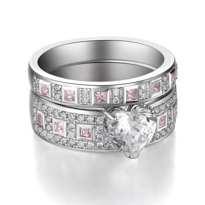 Herz geschnittener rosa Saphir 925 Sterling Silber Braut-sets