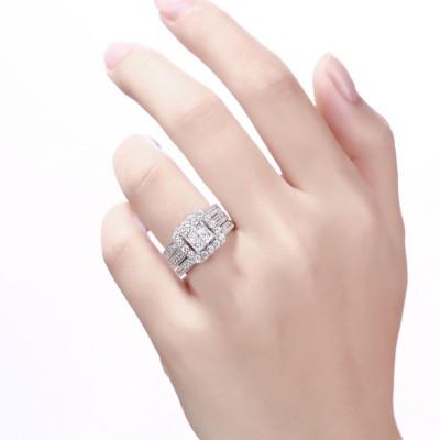 Damen Princess Schliff Weißem Saphir 925 Sterling Silber Braut-sets