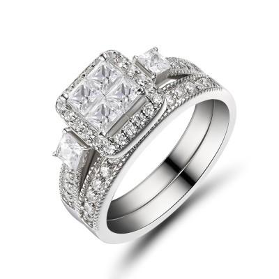 Damen Princess Schliff 925 Sterling Silber Weißemer Saphir Braut-sets