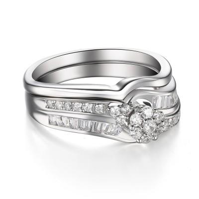 Blume Rundschnitt Weißemer Saphir 925 Sterling Silber Braut-sets