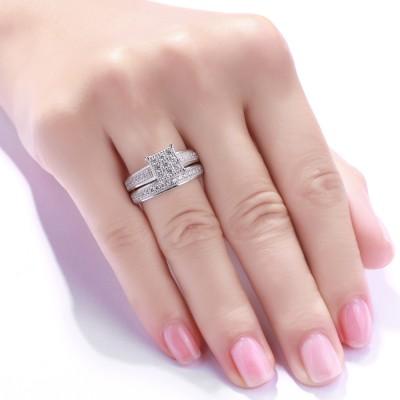 Süßer runder Schliff aus Weißemem Saphir 925 Sterling Silber Braut-sets