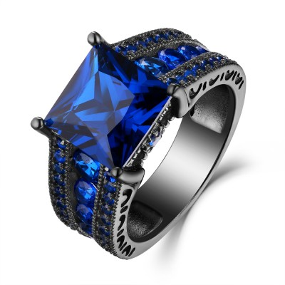 Blau Saphir Princess Schliff Schwarz 925 Sterling Silber Verlobungsringe