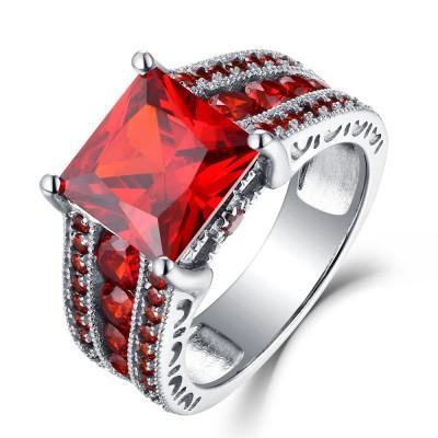 Rubin Princess Schliff 925 Sterling Silber Verlobungsringe
