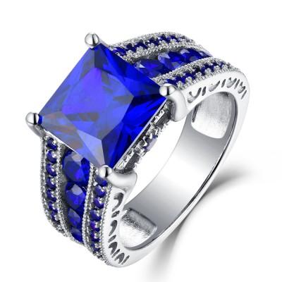 Princess Schliff Blau Saphir 925 Sterling Silber Verlobungsringe