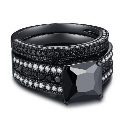 Schwarzes 925er Sterling Silber Schwarze Princess Schliff Braut-sets