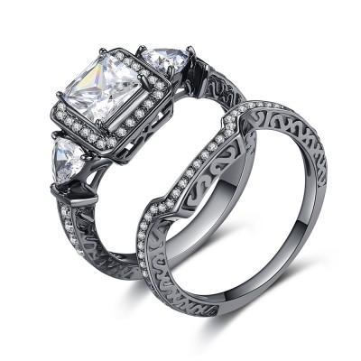 Princess Schliff Zirkonia Schwarz 925 Sterling Silber Braut-sets