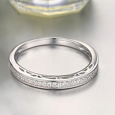 Runder Schliff aus Weißemem Saphir Sterling Silber Memoire Ringe