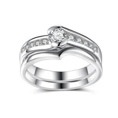 Eleganter runder Weißemer Saphir Sterling Silber Braut-sets