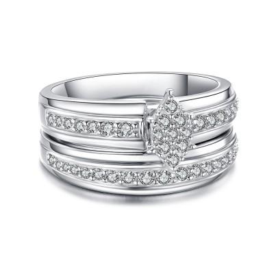 Einzigartiges Design Weißemer Saphir 925 Sterling Silber Braut-sets