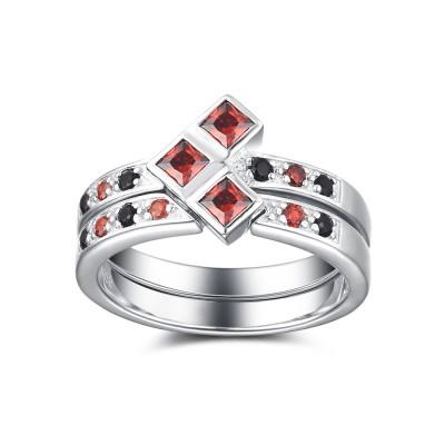 Rubin und Schwarze saphir 925 Sterling Silber Braut-sets