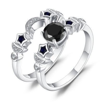 Mond und Stern aus Schwarzem Saphir 925 Sterling Silber Ringe
