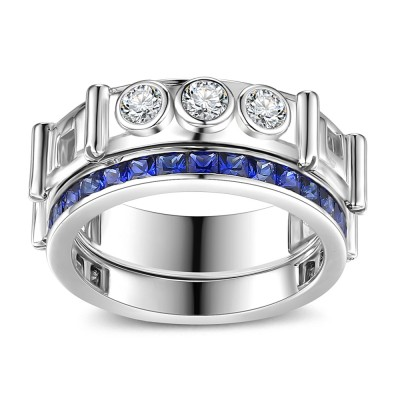 Princess Schliff saphir 925 Sterling Silber Ringe
