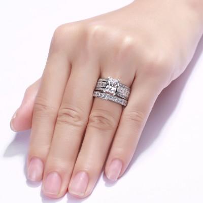 SmaragdSchliff Weißemer Saphir 925 Sterling Silber Braut-sets