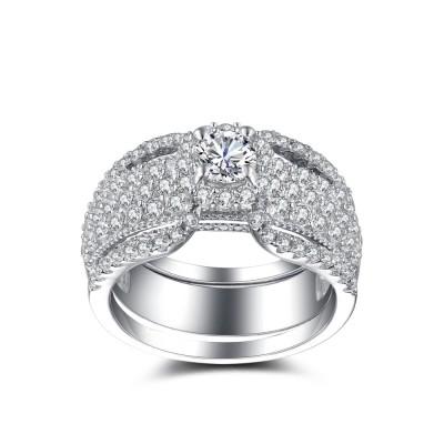 Luxuriöser runder Weißemer Saphir Sterling Silber Braut-sets