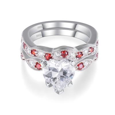 Herz geschnitten Weißem und Rubin Saphir Sterling Silber Damen Hochzeit Braut Set