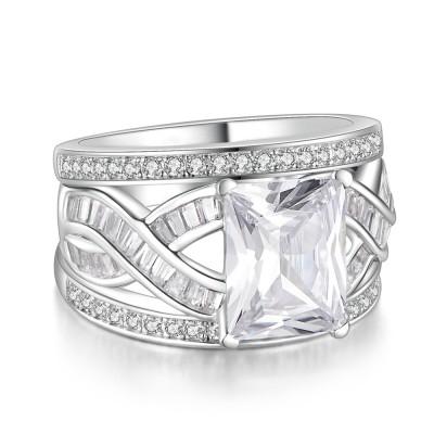 SmaragdSchliff Weißemer Saphir 925 Sterling Silber Damenring