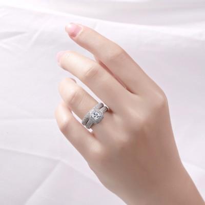Princess Schliff Weißemer Saphir Sterling Silber Damen Braut Set Ringe