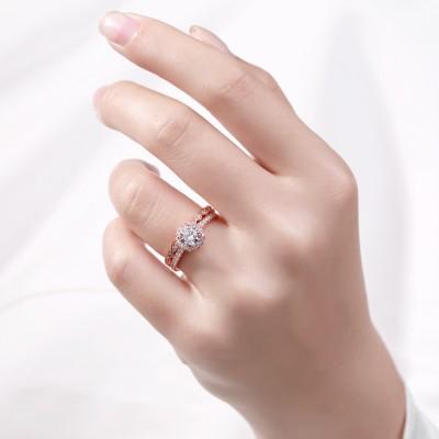 RoséGelbgold Rundschnitt Weißemer Saphir Sterling Silber Ringe