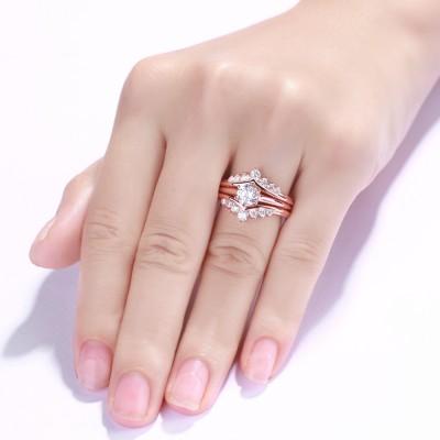 Rundschnitt S925 Sterling Silber Weißemer Saphir RoséGelbgold 3-steine Ringe