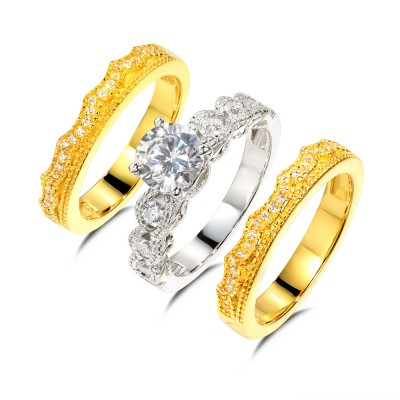 Runder Schliff aus Weißemem Saphir 925er Sterlingsilber Gelbgold 3-steine Ringe