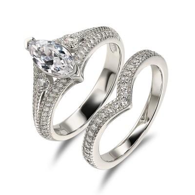 Marquise Schliff Weißem Saphir 925 Sterling Silber 3-Zirkonia Ringe