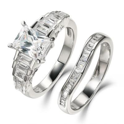 Radiant Schliff Weißem Saphir 925 Sterling Silber Ringe