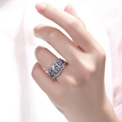 Runder Schliff blauer und Weißemer Saphir 925 Sterling Silber 3-steine Ringe