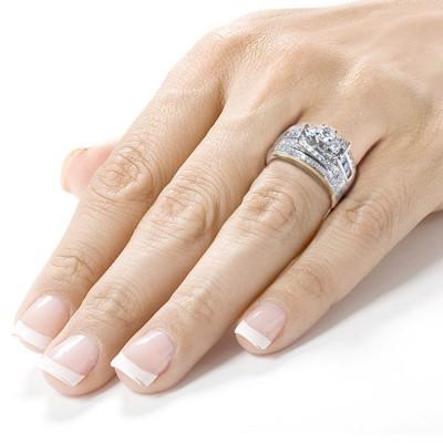 Runder Schliff aus Weißemem Saphir 925 Sterling Silber 3-Zirkonia Ringe