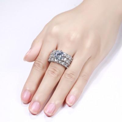Runder Schliff Weißer Saphir Sterling Silber 3-Teilige Ringsets