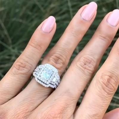 Strahlenden Weißer Saphir Silber 925 3 Stücke Hochzeit Ring Sets