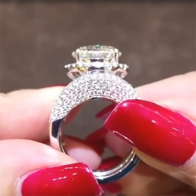 Rund Weißer Saphir Silber 925 3-Piece Halo Hochzeit Ring Sets