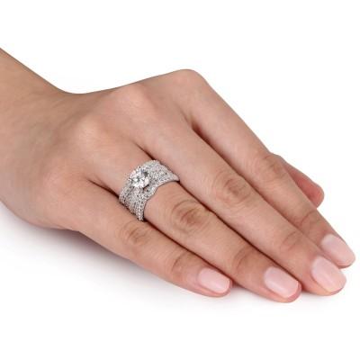 Runder Schliff Weißem Saphir Sterling Silber 3 Teilige Braut Ringset