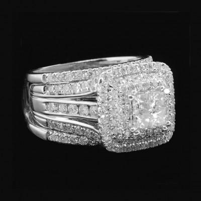 Princess Weißer Saphir Silber 925 3 Stücke Hochzeit Ring Sets