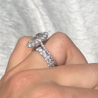 Oval Weißer Saphir Silber 925 Halo Hochzeit Ring Sets