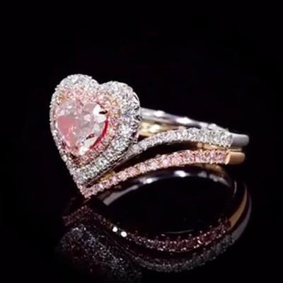 Herz Rosa Saphir Rotgold Silber 925 Halo Hochzeit Ring Sets