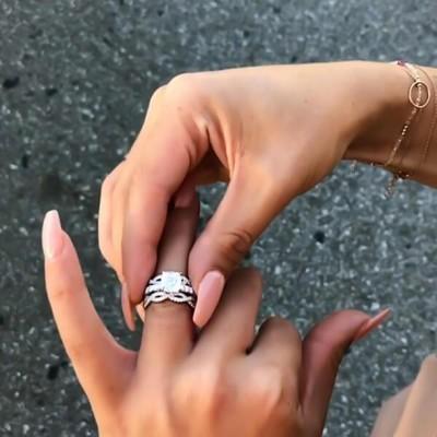 Princess Schliff  Weißer Saphir Silber 925 Hochzeit Ring Sets